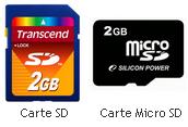 carte sd et micro SD 2go
