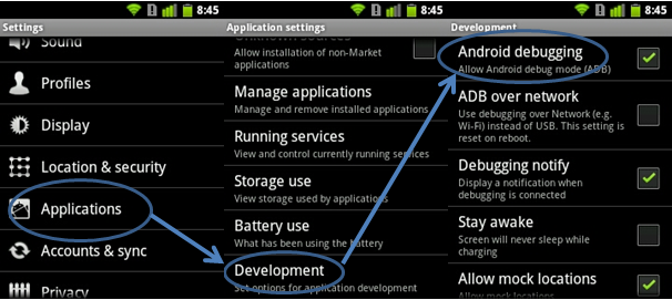 debogage Gingerbread (Android 2.3 - 2.3.7)