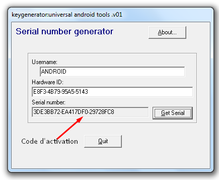 activation code android tools 2014