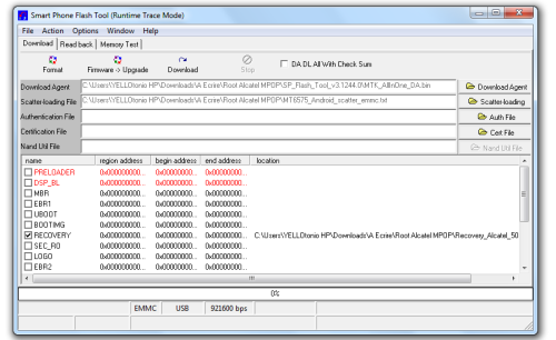 spflashtool recovery download