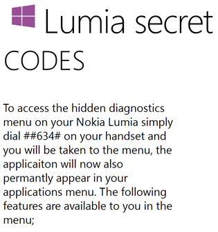 Codes secrets Nokia Lumia et Windows Phone