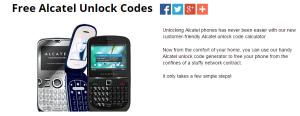 Déblocage téléphones et clés 3g Alcatel gratuit (133 modèles)